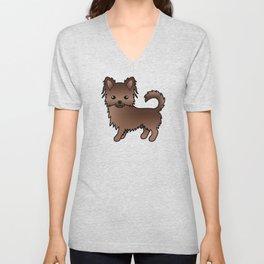 Chocolate Long Coat Chihuahua Dog Cute Cartoon Illustration Unisex V-Neck
