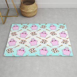 Cute funny Kawaii chibi little pink baby bunnies, happy sweet cheerful sushi with shrimp on top, rice balls and chopsticks white and blue pattern design. Rug
