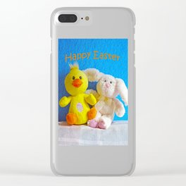 Happy Easter Chick + Bunny Clear iPhone Case