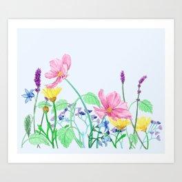 Floral Border - Summer Colours Art Print