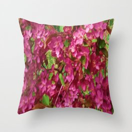 PINK CRABAPPLE SPRING MODERN ART Throw Pillow