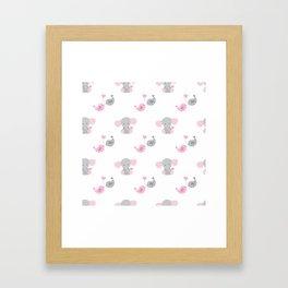 Pink Elephant Chickadee Bird Heart Framed Art Print