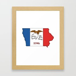 Iowa Map with Iowan Flag Framed Art Print