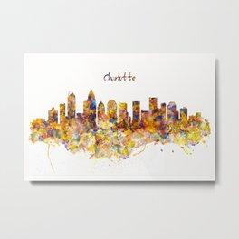 Charlotte Watercolor Skyline Metal Print
