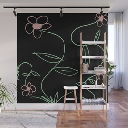 Simple Line Drawing Flowers on Black Background Wall Mural