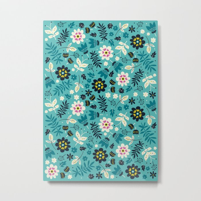 Fresh Blossoms (Greens) Metal Print
