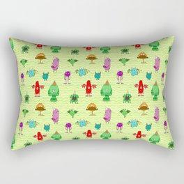green background monster pattern , horns monstache Rectangular Pillow