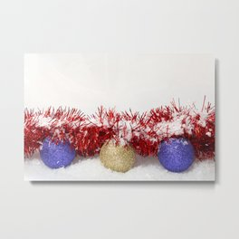 Christmas Baubles Tinsel and Snow Metal Print