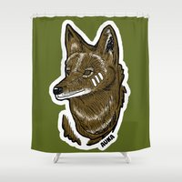coyote Shower Curtains featuring Coyote by Sergio Campos