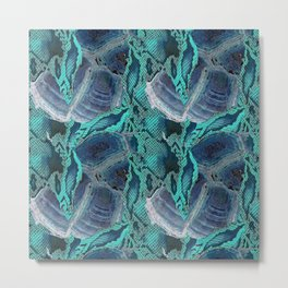 Snake and tortie print in turquoise blue Metal Print