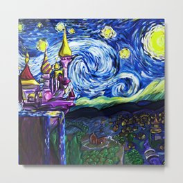 Starry night in small town Metal Print