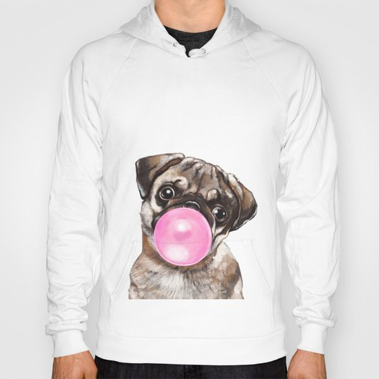 Pug with Pink Bubble Gum by bignosework