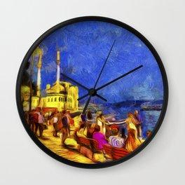 Istanbul At Night Van Gogh Wall Clock
