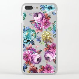 Fluorescent Roses Clear iPhone Case