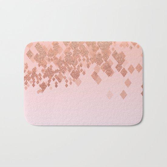 Light Salmon Pink Gradient Faux Glitter Diamond Pattern Bath Mat