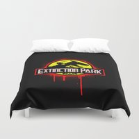 transformer Duvet Covers featuring Extinction Park by emodist