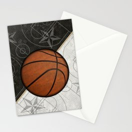 Basketball Stars and Court Team Sports Design Stationery Cards