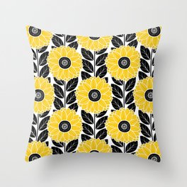 Sunflower Garden in Black and Yellow Throw Pillow