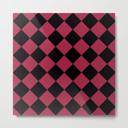 Red and Black Checkered Pattern Metal Print