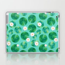 Lily Pads & White Water Lily Flowers Laptop & iPad Skin