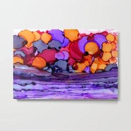 Orange & Purple Sunset Abstract Ink Art Metal Print