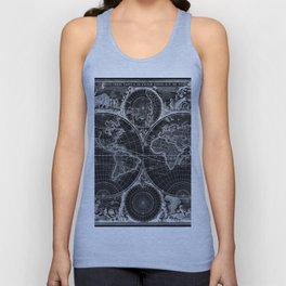 Black and White World Map (1670) Inverse Unisex Tank Top