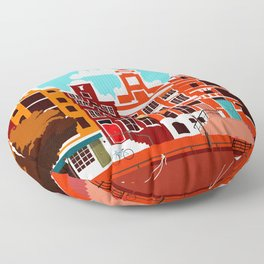 Vintage Amsterdam Holland Travel Floor Pillow