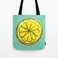 lemon Tote Bags featuring lemon by Marzipan