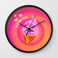 icecream Wall Clocks featuring Mr  Icecream by Helenasia