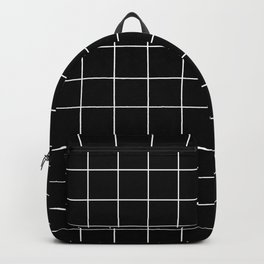 Grid Line Stripe Black and White Minimalist Geometric Rucksack