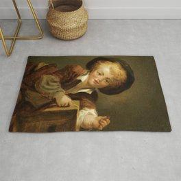 """Jean-Honoré Fragonard """"A Little Boy with a Curiosity"""" Rug"""
