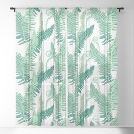 Native Ferns, Vintage Tropical Sheer Curtain