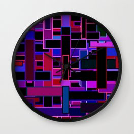 Midnight in the Metropolis Abstract of Rectangles Wall Clock