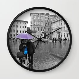 Purple and Blue in Rome Wall Clock