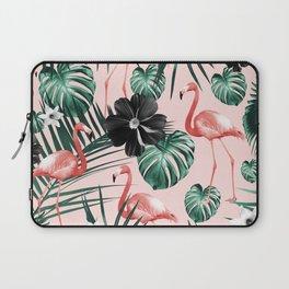 Tropical Flamingo Flower Jungle #4 #tropical #decor #art #society6 Laptop Sleeve