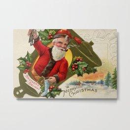 Antique Santa wih pipe Merry Christmas Metal Print