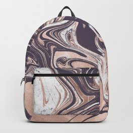 Liquid Rose Gold Violet and Marble Backpack