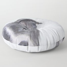 pit bull silver grey tone Floor Pillow