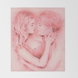 Love whispered - Couple in love Throw Blanket