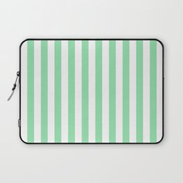 Large Mint Green and White Vertical Cabana Tent Stripes Laptop Sleeve