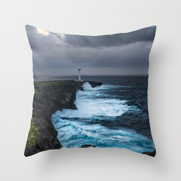 Storm Brewing Over the Cape Zanpa Lighthouse Throw Pillow