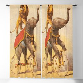 1880 Circus Show Elephant Riding a Bicycle with Lion on its back poster Blackout Curtain