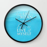 percy jackson Wall Clocks featuring Live it myself - book quote from Percy Jackson and the Olympians by book quay
