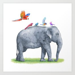 All Aboard The Exotic Elephant Taxi Service Art Print