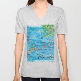 Florida Keys Key West Marathon Key Largo Illustrated Travel Poster Favorite Map Tourist Highlights Unisex V-Neck