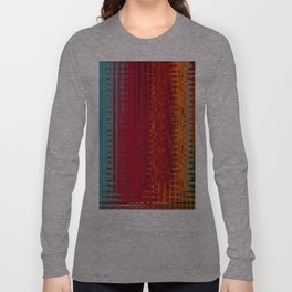 Warm red & turquoise Floor Pattern Art Long Sleeve T-shirt