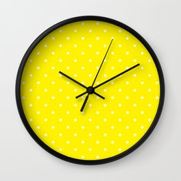 Small White Polka Dots with Yellow Background Wall Clock