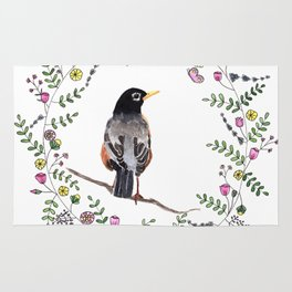 American Robin With Whimsical Flower Wreath Rug