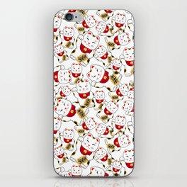 Good luck cat pattern/ red Maneki-neko iPhone Skin