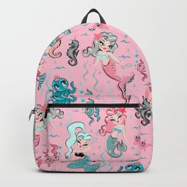 Babydoll Mermaids on Pink Backpack